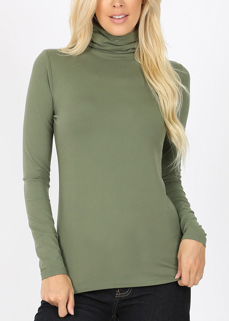 Mock Neck Olive Top
