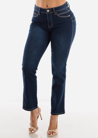 Image of Boot Cut Butt Lifting Navy Blue Jeans