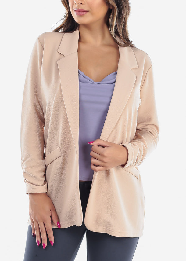 Women's Junior Ladies Dressy Business Career Wear Open Front Ruched Sleeves Beige Blazer