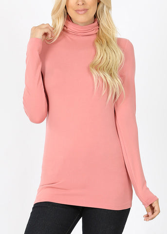 Image of Mock Neck Rose Top