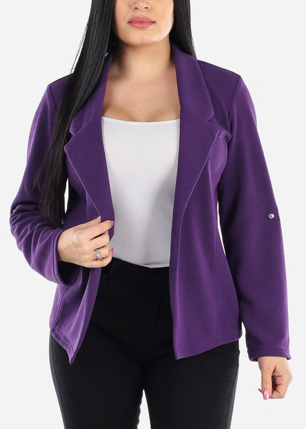 Purple Open Front Cotton Blazer
