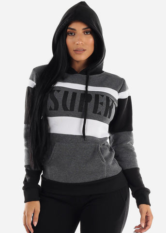 "Charcoal Colorblock Pullover Hoodie ""Super"""