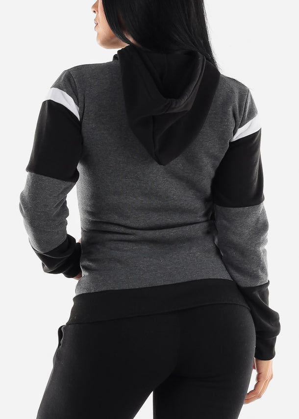 Charcoal Colorblock Pullover Hoodie