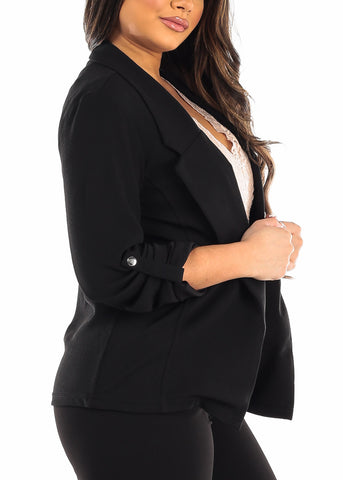 Image of 3/4 Sleeve Open Front Black Blazer