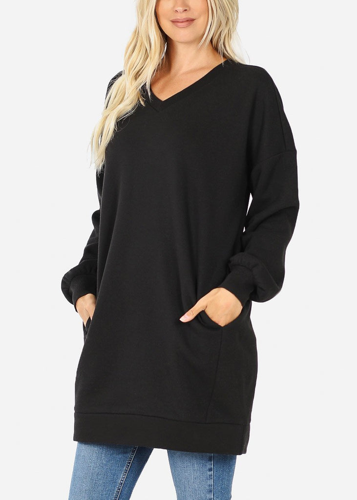 Oversized Round Neck Black Sweatshirt