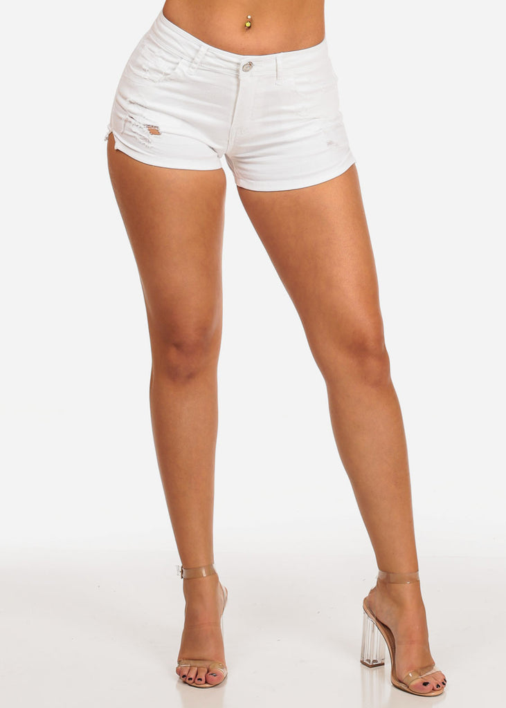 White Distressed Mid Rise Denim Shorts