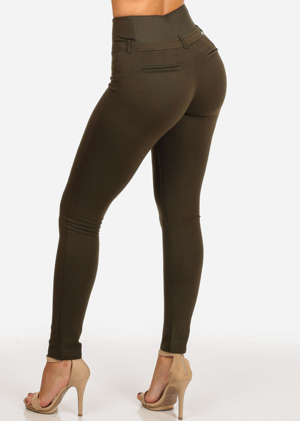 Butt Lifting Olive Skinny Pants