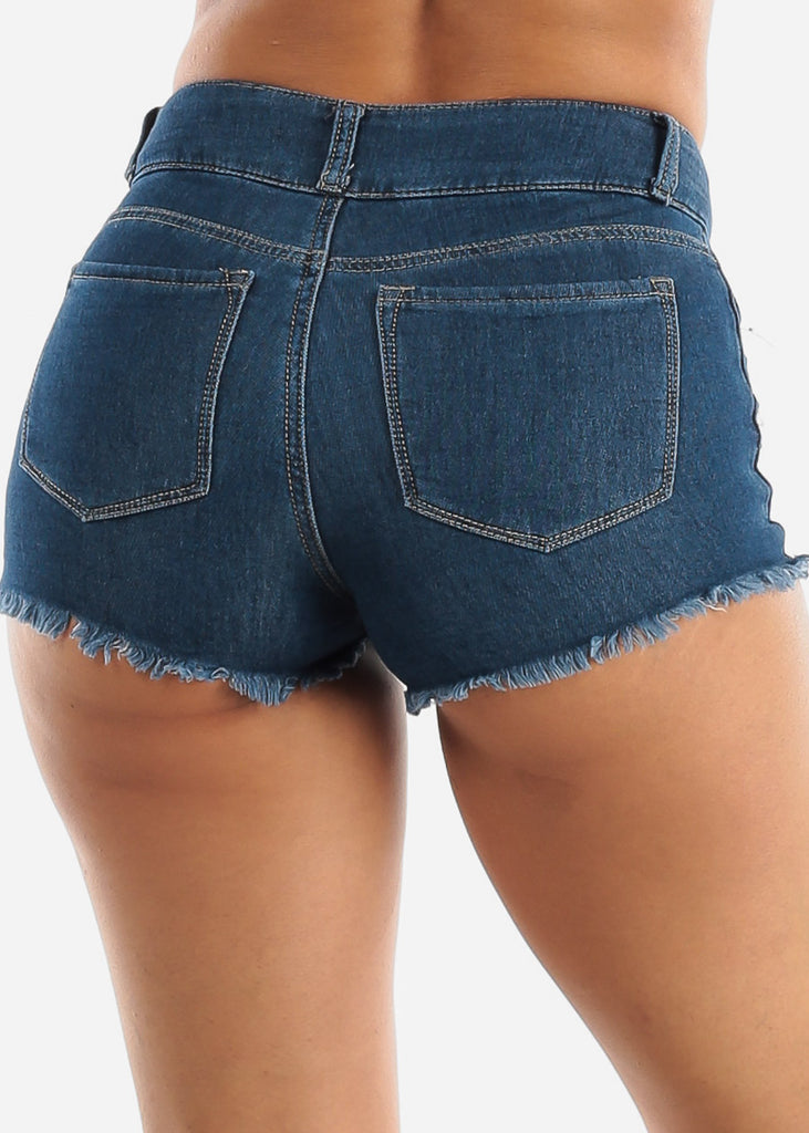 Mid Rise Ripped Denim Shorts