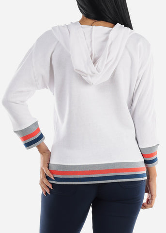 3/4 Sleeve White Colorful Trim Pullover Sweatshirt
