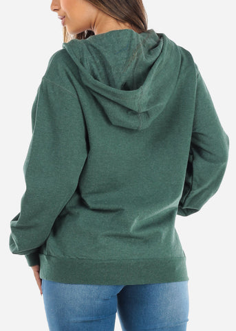 Image of Zip Up Heather Olive Sweater