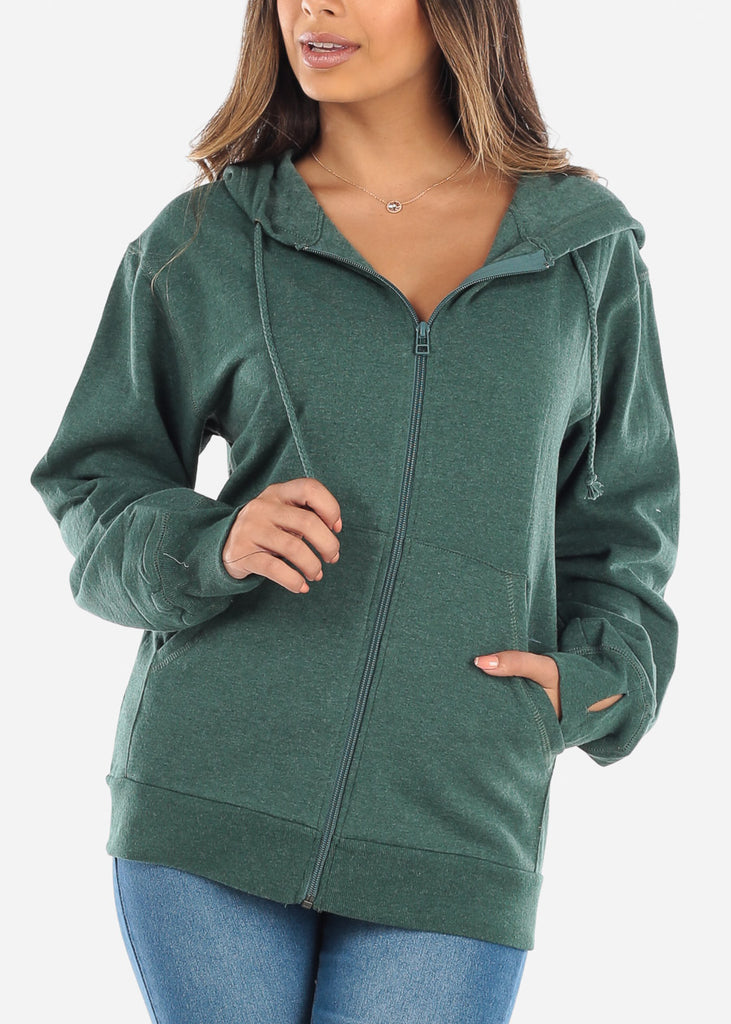 Zip Up Heather Olive Sweater