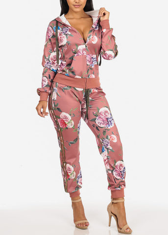 Image of High Rise Drawstring Floral Jogger (Mauve)