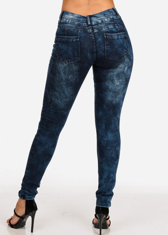 Women's Junior Ladies 2 Button Mid Rise Dark Marble Wash Skinny Jeans