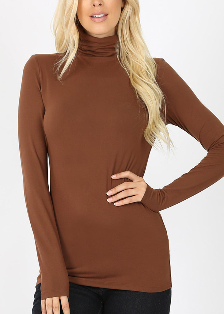 Mock Neck Mocha Top