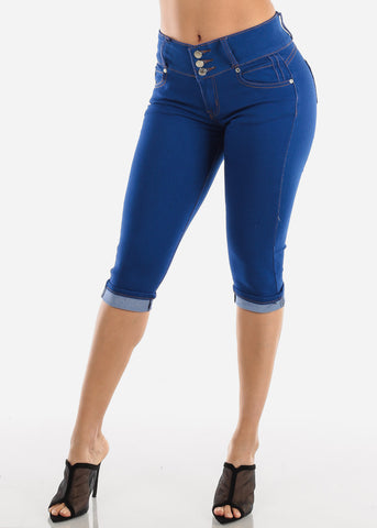 Image of Blue Wash Levanta Cola Ripped Denim Capris