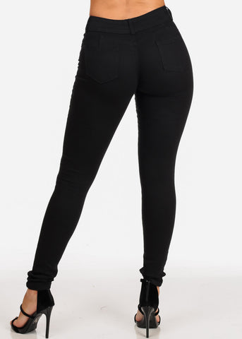 Image of Women's Junior Ladies 2 Button Mid Rise Solid Black Super Stretchy Black Skinny Jeans