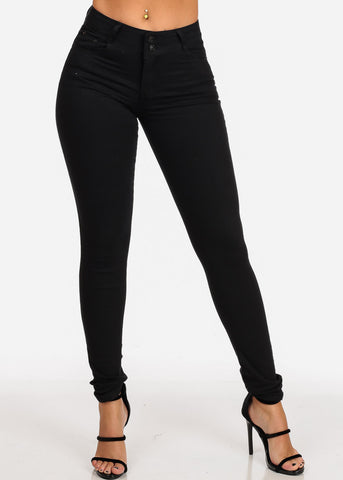Women's Junior Ladies 2 Button Mid Rise Solid Black Super Stretchy Black Skinny Jeans