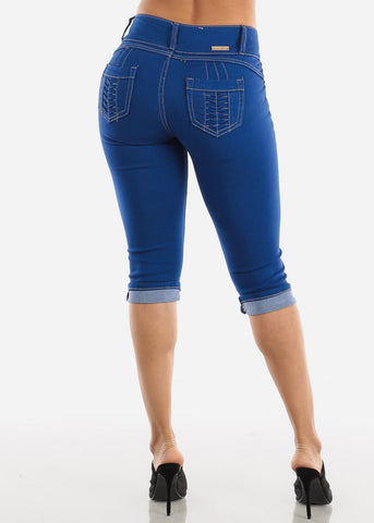 Levanta Cola Blue Wash Ripped Denim Capris