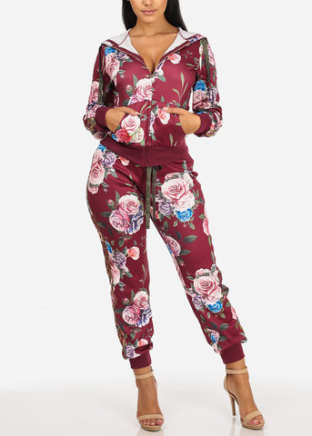 High Rise Drawstring Floral Jogger (Burgundy)
