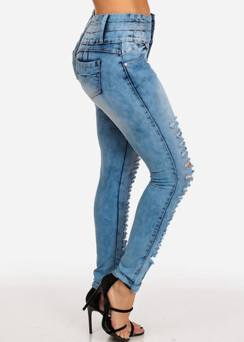 4 Button Mid Rise Distressed Butt Lifting Levanta Cola Acid Wash Skinny Jeans