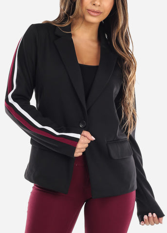 Image of Black One Button Striped Blazer