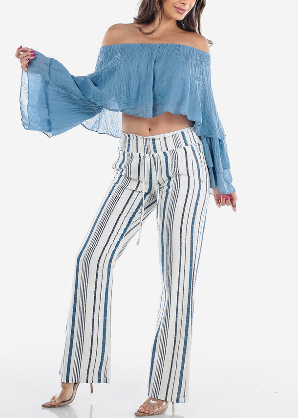 Blue Stripe Linen Pants