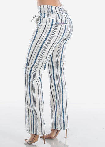 Image of Cute Lightweight Linen Blue And White Stripe High Waisted Boho Style Wide Legged Pants For Women Ladies Junior