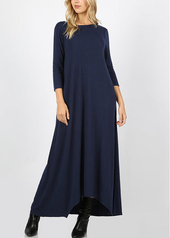 Asymmetrical Hem Navy Maxi Dress