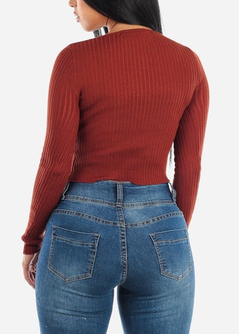 Image of Brick V-Neck Ribbed Sweater