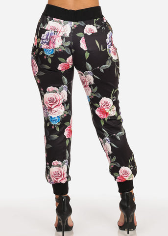 High Rise Drawstring Floral Jogger (Black)
