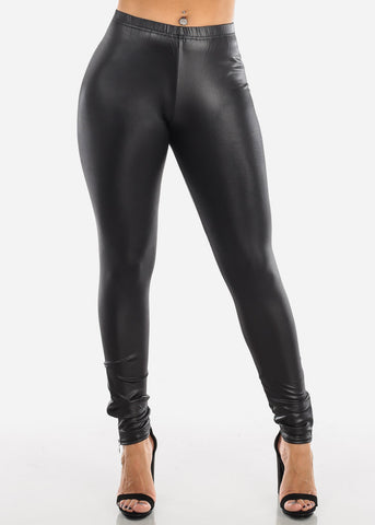 Pleather Leggings Side Zipper Black