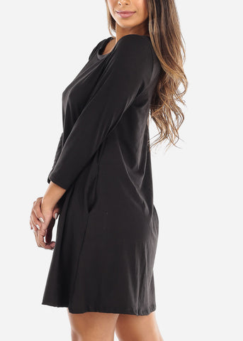 Image of Black Swing Dress With Pockets