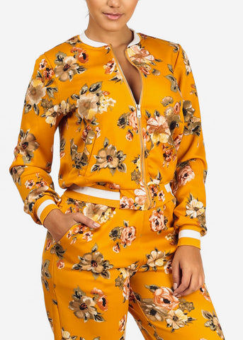Mustard Floral Jacket W Pockets