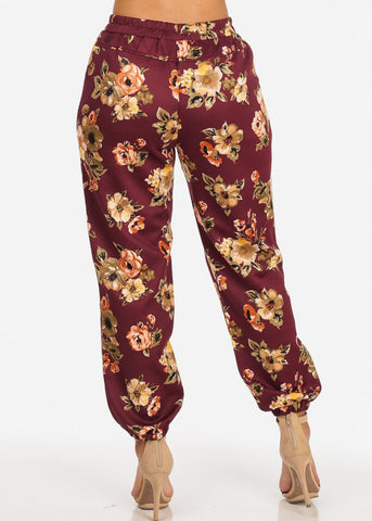 Pull On Floral Jogger Pants (Wine)