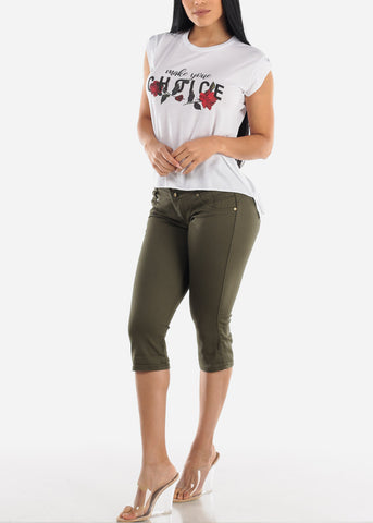 Butt Lifting Olive Denim Bermuda Shorts