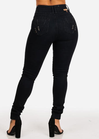 Affordable Black Butt Lifting High Rise Skinny Jeans