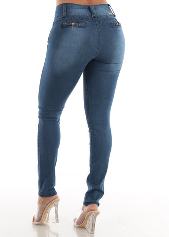 Image of Butt Lifting Blue Levanta Cola Skinny Jeans