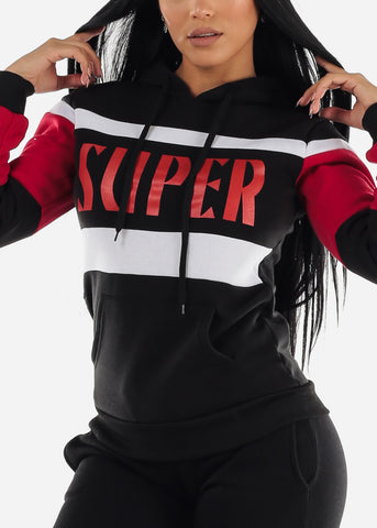 "Black Colorblock Pullover Hoodie ""Super"""