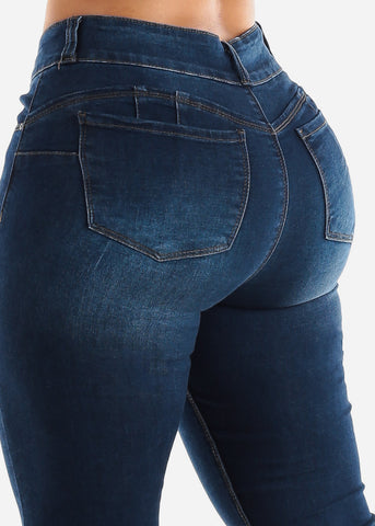 High Rise Dark Butt Lifting Skinny Jeans