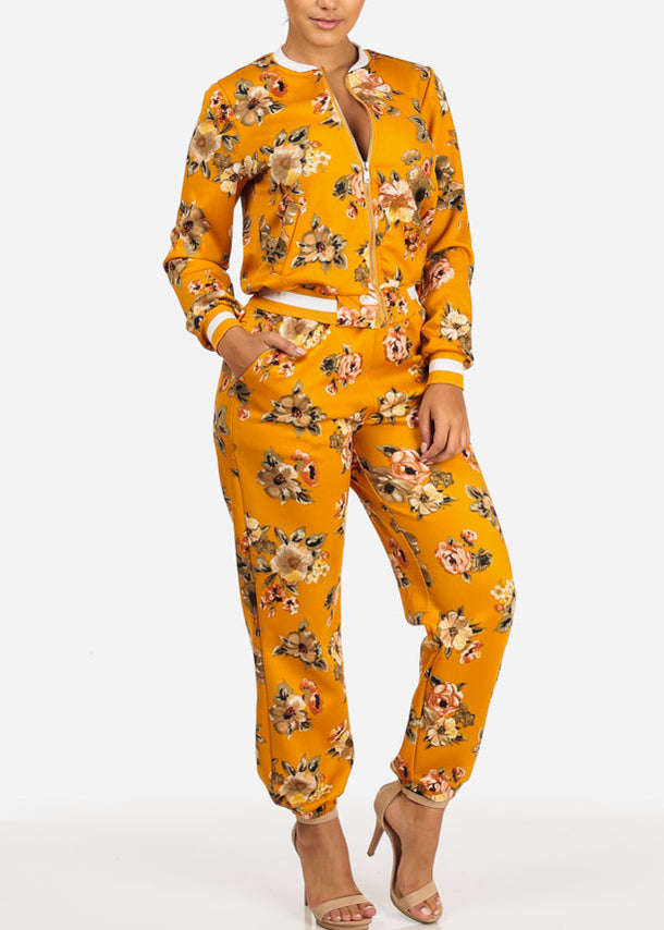 Pull On Floral Jogger Pants (Mustard)