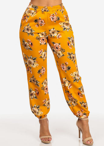 Image of Pull On Floral Jogger Pants (Mustard)