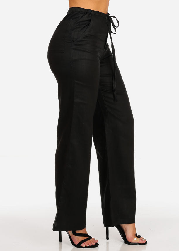 Black Wide Leg Linen Pants