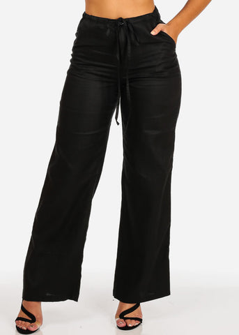 Image of Black Wide Leg Linen Pants