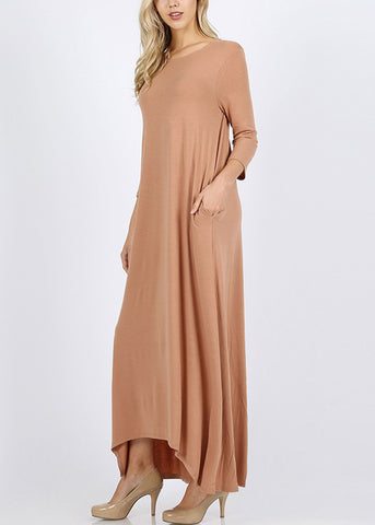 Asymmetrical Hem Camel Maxi Dress