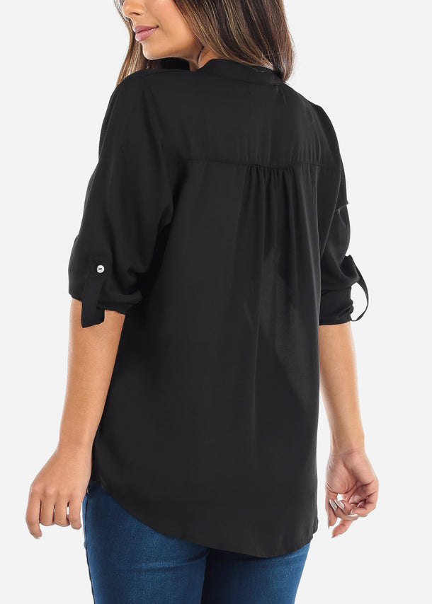 Black Two Button Blouse