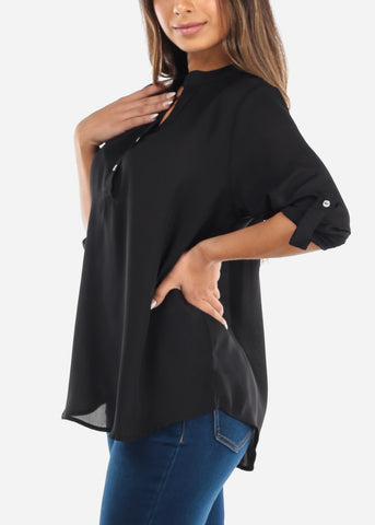 Image of Black Two Button Blouse