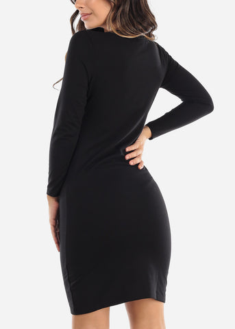 Image of Basic Black T-Shirt Dress
