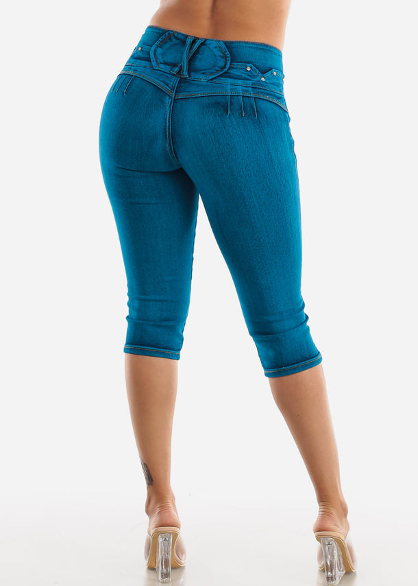 Butt Lifting Teal Denim Capris