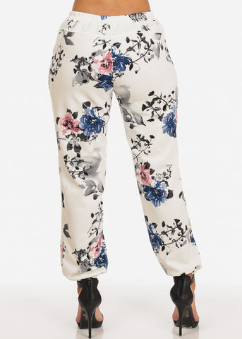 Pull On Floral Jogger Pants (White)