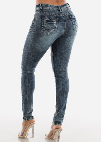 Distressed Acid Wash Skinny Jeans